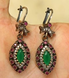WIDE! TURKISH EMERALD RUBY TOPAZ 925K STERLING SILVER EARRINGS