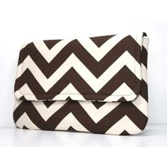 Clutch Purse - Brown and Cream Chevron ($28) ❤ liked on Polyvore