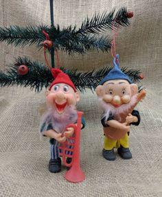 Musician Elf, Set of 2 Elves with Musical Instruments, Trumpet Player Elf, Mandolin Player Elf Musical Christmas Decorations, Plastic Trumpet, Goofy Face, Trumpet Players, An Elf, Mandolin, Natural Baby, Face And Body, Musical Instruments
