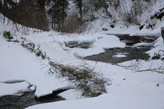Ice bridge on trail