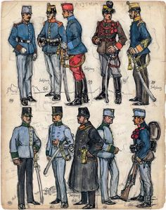 """35. Sergeant-Major, German Infantry Regiment No. 18; 36. Private 1st Class, German Infantry Regiment No. 45; 37. Sergeant-Major, 5th Lancers; 38. Corporal, Horse Artillery; 39. Sergeant-Major, German Infantry Regiment No. 59; 40. Second Lieutenant, Jäger; 41. Lieutenant, Jäger; 42. Officer, German Infantry Regiment No. 59; 43. Einjähriger (University Graduate), Jäger; 44. Private, German Infantry Regiment No. 43. Extract from: AE Haswell Miller & John Mollo. """"Vanished Armies."""""""