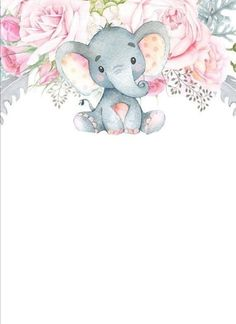 Elephant Baby Shower Favors, Baby Elephant Nursery, Elephant Theme, Elephant Baby Showers, Baby Boy Shower, Baby Record Book, Cute Canvas, Baby Journal, Baby Drawing