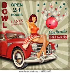 Image result for retro ten pin bowling poster advertisement images