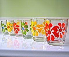 sold. but love. Vintage Flower Power Sour Cream Glasses