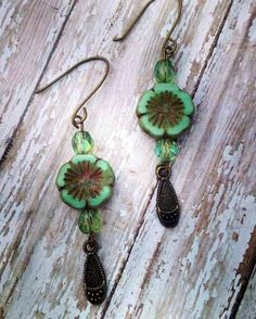 Green and brass czech glass flower earrings-brass flower earrings-green flower earrings-green czech glass-flower dangle earrings-flowers by ILoveBeads247 on Etsy