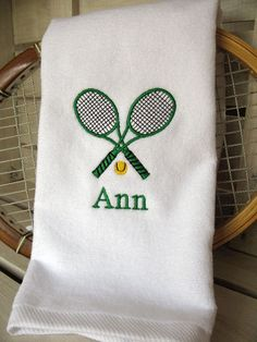 """Tennis Gift - Personalized Tennis Towel -  """"Crossed Tennis Racquets in Green"""" #419G by TennisGiftsToGo on Etsy"""