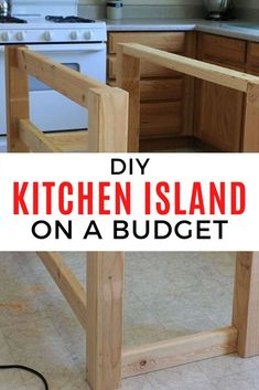 Save money when you're on a budget with this DIY kitchen island made from wood pallets. Perfect for small spaces when you put it on wheels. This is an easy to build kitchen island and cheap too so check out how to make an island from wood pallets. Pallet Island, Pallet Kitchen Island, Kitchen Island Makeover, Kitchen Island On Wheels, Wooden Kitchen, Kitchen Island Made Out Of Pallets, How To Build Kitchen Island, Diy Pallet Kitchen Ideas, Kitchen Small