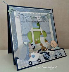 Baptism Cards, Album Scrapbook, Paper Crafts Origami, Baby Box, Box Tops, 3d Cards, Marianne Design, Baby Cards, Card Ideas