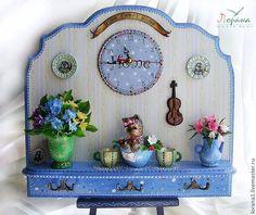 """Купить Панно+часы+вешалка """"Мой дружочек"""". - цветы ручной работы, цветочная композиция, часы настенные, часы"""