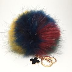 NEW Collection Dimensional Swirl Multi Color Raccoon Fur Pom Pom bag charm clover flower charm keychain piece Red Blue Yellow