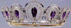 This gorgeous amethyst tiara has a bit of a mystery vibe to it. General consensus is that it's Cartier circa 1900. Though it has been erroneously linked with a photo of Princess Alexandra of Wales taken in 1880s