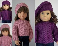"Faith pdf doll clothes knitting pattern for 18"" American Girl Doll & 19.5"" Gotz Sarah/Hannah with FREE Grace Pattern"