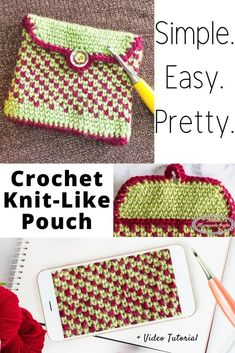 Learn how to crochet a Knit-Like Pouch pattern that is free. It uses the waistcoat stitch and is perfect to store your crochet notions or accessories. It has 1 button and is super easy to crochet. It's the perfect weekend project. Crochet Pouch, Easy Crochet, Free Crochet, Basic Crochet Stitches, Crochet Basics, Crochet Patterns, Pouch Pattern, Free Pattern, Homemade Crafts