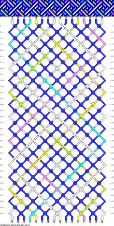 Friendship Bracelet Pattern,, 16 strings, 6 colours