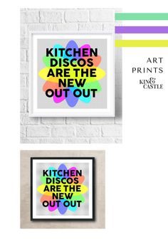 Bring your kitchen decor to life with this colourful wall art print. This kitchen disco art print makes a great birthday gift, new parents gift and Christmas gift in lockdown. This modern kitchen art print will add a pop of colour to your kitchen wall decor. It's the perfect staying in quote! Hallway Wall Decor, Wall Art Decor, Kitchen Art, Kitchen Decor, Art Disco, Colorful Wall Art, Gallery Walls, Nursery Room Decor, Modern Art Prints
