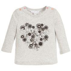 Little Marc Jacobs Baby Girls Grey Cotton Heart Top at Childrensalon.com