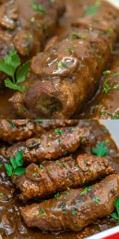 Traditional Beef Rouladen is pure comfort food! This recipe for beef rouladen is a sure fire hit with bacon strips, Dijon mustard and onion in the middle and lots of flavor in the sauce! Beef Steak Recipes, Easy Chicken Dinner Recipes, Baked Chicken Recipes, Meat Recipes, Cooking Recipes, Casserole Recipes, Beef Steaks, Kabob Recipes, Supper Recipes