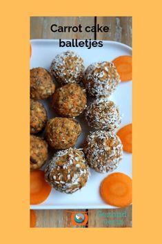 Het maken van balletjes is veel makkelijker dan je denkt. Je mengt een boel ingrediënten en je draait er balletjes van. Ook bij deze carrot cake balletjes - GezondGezin #carrotcake Healthy Cake, Healthy Treats, Carrot Cake, Goat Cheese, Truffles, Feta, Carrots, Muffin, Paleo
