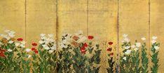 狩野重信 「麦 芥子図屏風 」左隻 江戸時代 Kano school. Left of a pair of Japanese folding screens. Edo period. Japan Painting, Ink Painting, Japanese Screen, Japanese School, Japan Art, Painted Doors, Chinoiserie, Poppies, Oriental