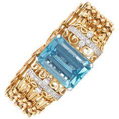 40 Carat Aquamarine Diamond Gold Bracelet   From a unique collection of vintage…