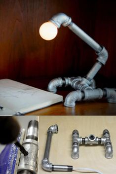 Pipe Lamp DIY with Recycled Pipe Parts - Desk Lamps -  Pipe lamp is one of the most reward full DIY Project in the world thanks to their price and simplicity. So if you have someold …    Read More »  #Diylighting #Handmadelighting #Industrial #Lamp #Lightbulb #Lightfixture #Lighting #Lightingdesign #Metallic #Recycle #Steampunk #Tutorial