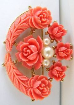 Vintage bridal gold rose brooch with creamy pink by fayebella