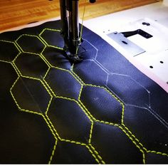hard at work sewing hexagon pleats Custom Car Interior, Car Interior Design, Truck Interior, Car Interior Upholstery, Automotive Upholstery, Custom Car Decals, Custom Cars, Jetta A4, Leather Wall Panels