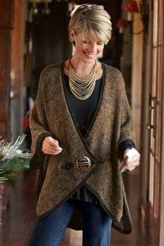 Mei Ling Cape Sweater - Women's Cape Sweater, Asian-inspired Sweater, Women's Sweater Capes | Soft Surroundings