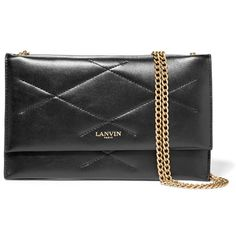 Lanvin Quilted leather shoulder bag ($605) ❤ liked on Polyvore featuring bags, handbags, shoulder bags, black, handbags purses, quilted handbags, crossbody shoulder bags, hand bags and purse shoulder bag