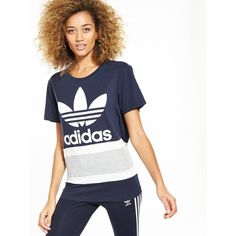 Adidas Originals 'Seoul' Boyfriend Trefoil Tee (£22) ❤ liked on Polyvore featuring tops, t-shirts, white boyfriend tee, cotton t shirts, white jersey, boyfriend t shirt and white striped t shirt