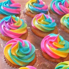 Tye dye frosting - Rainbow- My Little Pony Birthday Party - Strawberry Vanilla Cupcakes