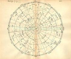1897 Vintage Star Chart Beautiful Celestial Map, Constellations Planets Zodiac. $15.00, via Etsy.