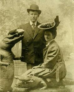 Step into my Attic would you sit on an alligator for a photo. Not me. Not even stuffed. She was intrepid for the age
