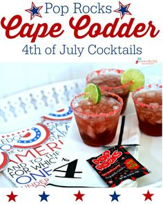 4th of July Drink with Pop Rocks | Fourth of July Cape Codder Cocktail Recipe | Find more holiday ideas at TodaysCreativeLife.com