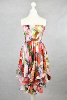 Süsses trägerloses Kleid mit Blumenprint online kaufen - Grösse S - Marke ben ben   Vintage-Fashion Online Shop fürs Verkaufen und Kaufen