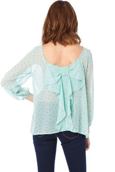 ShopSosie Style : Coletta Bow Blouse in Polka Dot Mint