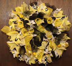 Bumble Bee Yellow Burlap and Polka Dot Deco Mesh by WreathsByJeanZ