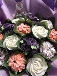 Dark purple and peach bouquet www.bakedblooms.com