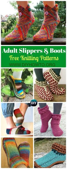 Knit Adult Slippers & Boots Free Patterns: Big Girls Slipper Shoes, Women Boots, Men Slippers, Home Slippers Free Knitting Patterns.