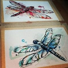 watercolor dragonfly one and blue