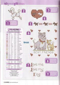 Dog and cat motifs Cross Stitch Fairy, Mini Cross Stitch, Cross Stitch Animals, Cross Stitching, Cross Stitch Embroidery, Embroidery Patterns, Cross Stitch Designs, Cross Stitch Patterns, Charlie E Lola