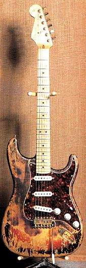 "Frank Zappa made some modifications to a red Fender Stratocaster burned by Jimi Hendrix: Zappa put new pickups and a Performmance neck with the Gibson SG measures. This guitar was very feedbacky, so Zappa didn´t play it very often; but he used it several times in the studio. You can hear this guitar in the ""Drowning Witch"" and ""Zoot Allures"" solos..."