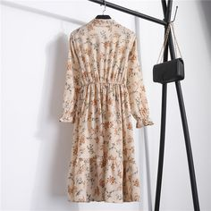 Spring Summer Chiffon Dress Women Mid Length Bow Floral Print Dresses Sweet Full Sleeve Slim New Casual Women Dress Floral Maxi Dress, Ruffle Dress, Chiffon Dress, Boho Dress, Ruffles, Vintage Long Dress, Elegant Dresses For Women, Sweet Dress, Elegant Woman