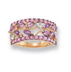 Amethyst, Pink Sapphire and Diamond Rose Gold Ring amethyst rings