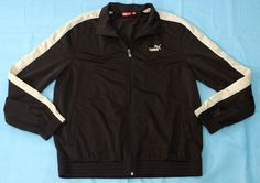Puma Brown Track Jacket Size Large Zippered Athletic Coat Lightweight #PUMA #BasicJacket
