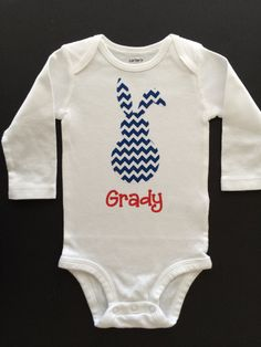 Custom Personalized Easter baby outfit by SmileLoveDesigns, $17.00. LOVE this! Would want a red bow on the bunny!