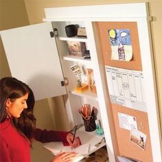 Get organized with this hallway message center. With an erasable calendar, mail bin, shelving, key hooks and corkboards, it's the perfect spot for keeping track of family activities.