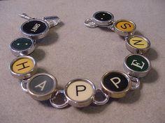 Typewriter Key Jewelry Bracelet - SHIFT HAPPENS - Colorful Typewriter key Bracelet