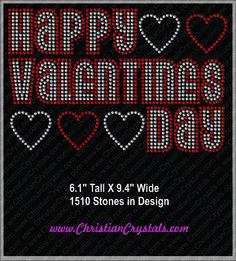 Christian Crystals Happy Valentines Day Rhinestone Tee