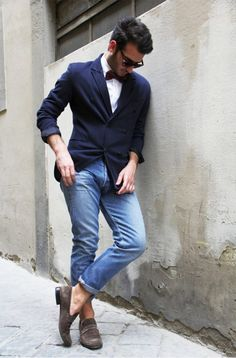 casual w/ bow tie #men // #fashion // #mensfashion